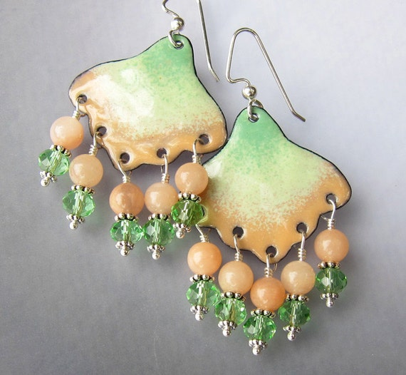 Gemstone and enamel chandelier earrings Peach moonstone and green dangles Unique artisan gypsy jewelry On sale Gift for her