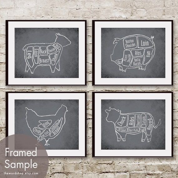 Cow, Pig, Chicken and Sheep Butcher Diagram Series - Set of 4 Art Prints (Featured in Charcoal)