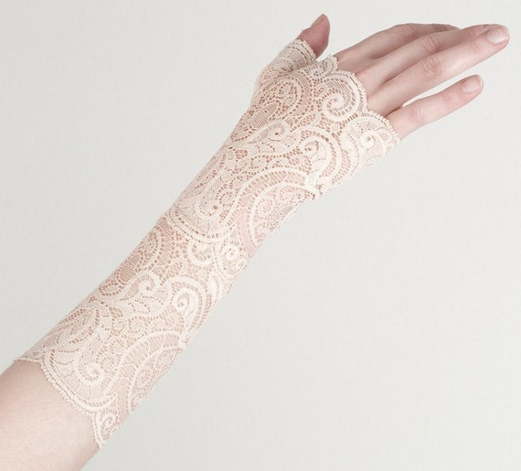 Lace fingerless gloves - Ivory