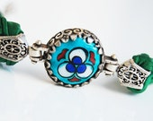 Handpainted Ceramic and Silk Bracelet  Silver Plated