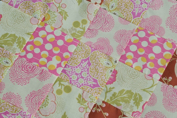 Amy Butler. COUTURE Pram Stroller Blanket. Midwest Modern for Rowan fabrics. Elegant details. QUILTED 30x30.