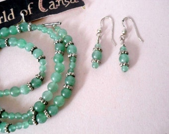 Vintage Silver and Genuine Jade Beaded Necklace & Earring Set - Pierced - Parure - 1980