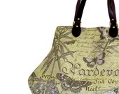 Sage Green French Script and  Butterflies Fat Bottom Bag Handbag Purse