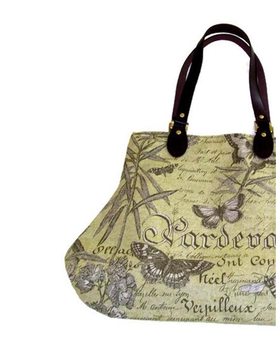 Sage Green French Script and  Butterflies Fat Bottom Bag Handbag Purse