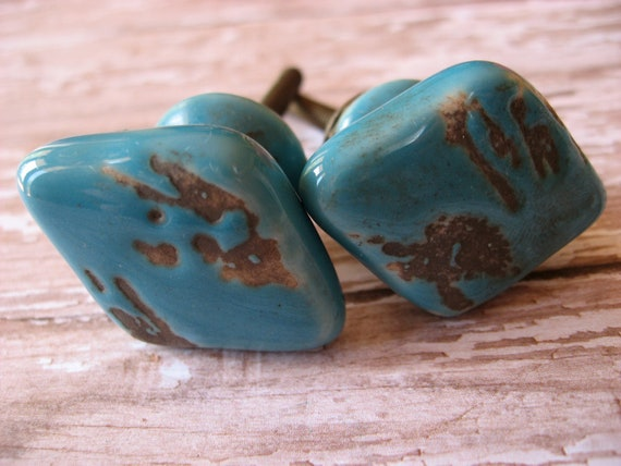 Set of 10 Aged Turquoise Blue Glazed Diamond Shaped Drawer Cabinet Pulls Rustic Cottage Cabin Look