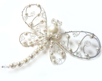 White Wedding Pearl Dragonfly Brooch - Dragonfly Jewelry -Tagt