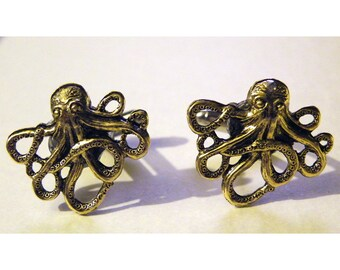 Mens Octopus Squid Cthulhu Cufflinks Steampunk Retro Victorian Style Filigree Cuff links Gothic
