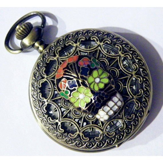 Day of the Dead Sugar Skull Pocket Watch Steampunk Gothic Black Enamel Necklace or Chain F								<a href=