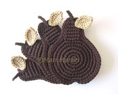Chocolate Pear Crochet Coasters . Covered with Chocolate Brown Beverage Cocoa Syrup Coffee Tea Decor Crochet Fruit Collection - Set of 4