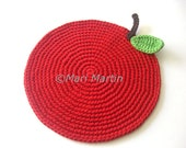 Red Apple Crochet Placemat  Big. Leaf Beverage Nature Drink Decor Absorbent Cotton Crochet Fruit Christmas in July