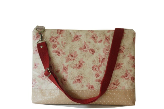 Waterproof - 13 inch  Macbook or Laptop bag with  detachable shoulder strap and  2 interior pocket-vintage rose - Ready to ship