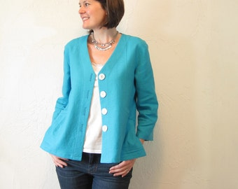 Linen Jacket - Turquoise with Pleated Pockets and Shell Buttons