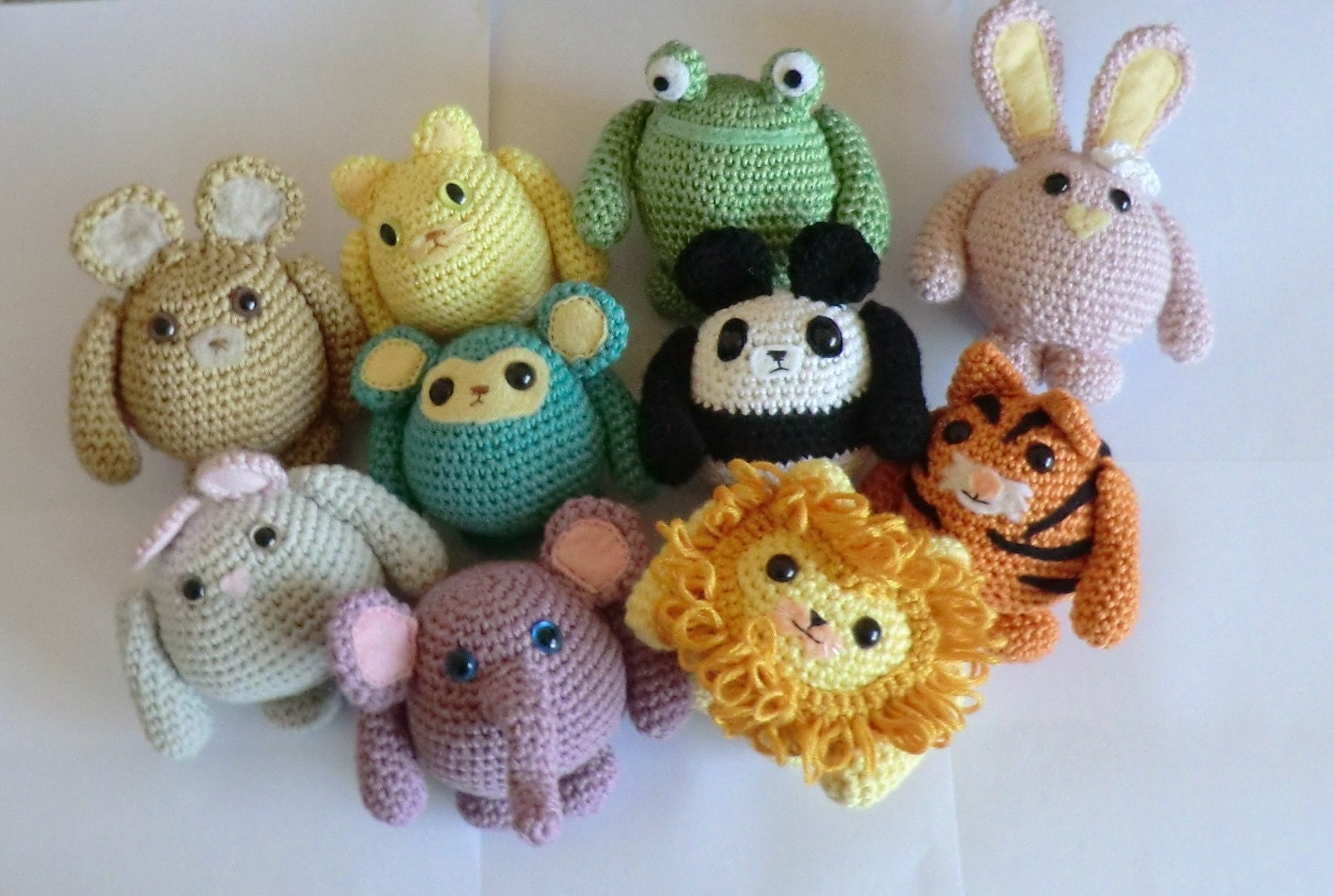 Fat friends animal amigurumi PDF crochet patterns all 10 cat