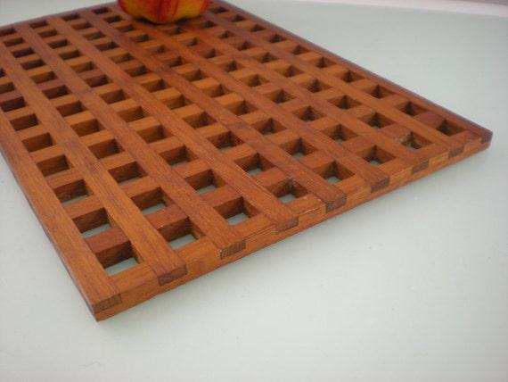 Dansk Designs JHQ Quistgaard Teak Grid Trivet - 11 x 7 - Danish Modern