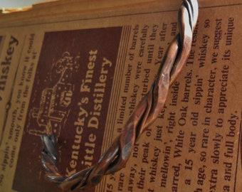 Hammered Copper Rope Cuff