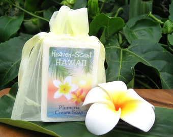 PLUMERIA SOAP with Mango Butter, Coconut Oil and Glycerin. 4 oz. Made in HAWAII.
