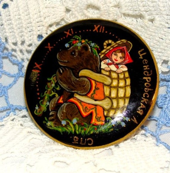 Reserve for Johanna //  Clock Pin from RUSSIA Hand Painted Girl and BEAR