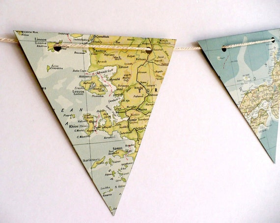 paper bunting BON VOYAGE world map - upcycled vintage paper bunting, party decoration, pale greens