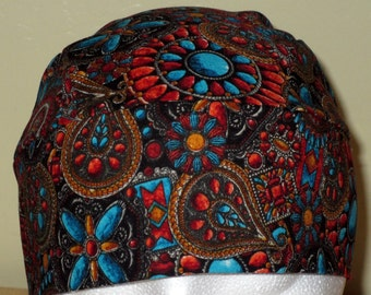 Southwestern Skull Cap, Hats, Chemo Cap, Biker, Horses, helmet Liners, Cowgirl, Cowboy, Motorcycle, handmade, Bandanna, Hair Loss, Surgical