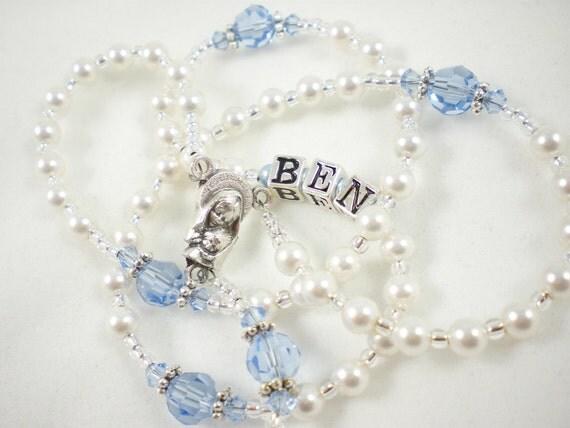 Tiny White and Blue Baby Boy Baptism Catholic Rosary with Swarovski Crystals - Under 30 - Personalized