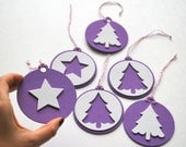 6 Foam Christmas Ornaments, Purple and white Christmas tags Original design Die cut Ornaments