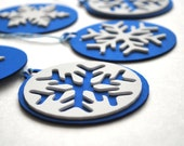 MOVING SALE 6 Foam Christmas Ornaments, Royal Blue and white Christmas tags Original design Die cut Ornaments
