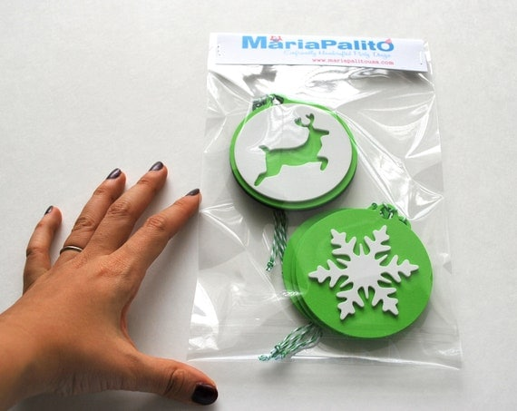 6 Foam Christmas Ornaments, Christmas tags Original design Die cut Ornaments