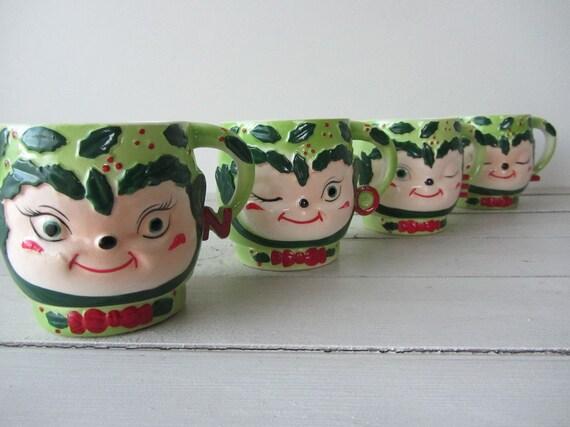 Vintage Christmas Elf Mug Set Of 4 1950s Shafford