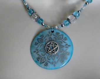 Mother Of Pearl Pentacle Necklace, wiccan jewelry pagan jewelry wicca jewelry goddess pentagram witchcraft witch magic wiccan necklace
