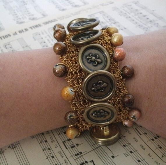 Fleur De Lis Vintage Button Cuff Bracelet, steampunk jewelry rocker victorian boho hippie renaissance wiccan pagan metaphysical new age