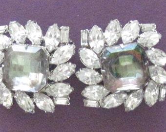 Vintage Hobe Watermelon Rhinestone Earrings