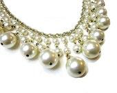 Vintage 1950's Dangling Faux Pearls Necklace Bib Choker