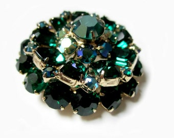"Vintage Green Rhinestone Brooch Vintage Emerald Cut Sparkling Dome Pin 2"" Gold Brooch Gift for Her Gift Idea Under 50"