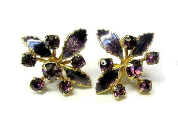 Vintage Purple Rhinestone and Enamel Pierced Earrings