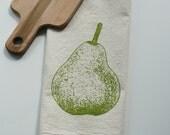 Flour Sack Towel - Pear - Hand Screen Printed - Perfect Gift