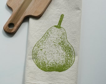 Flour Sack Towel - Pear - Hand Screen Printed - Perfect Gift