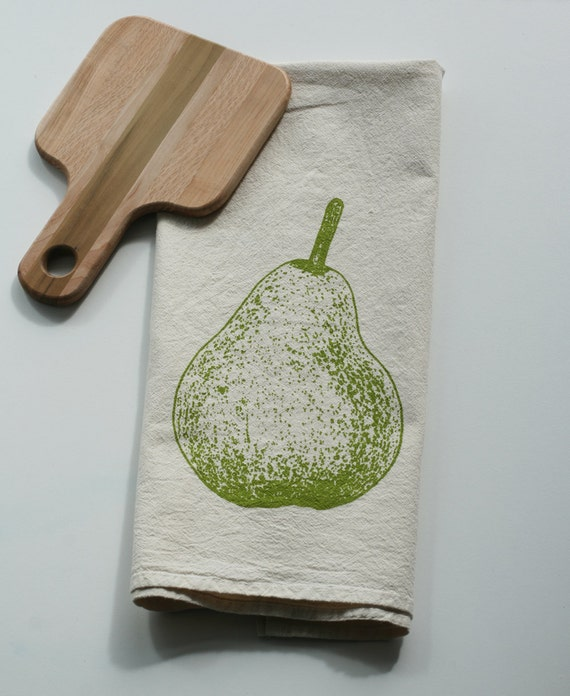 Flour Sack Towel Pear Hand Screen Printed Perfect Gift