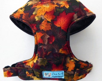 Fall Leaves Comfort Soft Dog Harness. - Made to order -