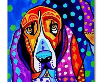 BASSET HOUND art Tile Ceramic Coaster Mexican Folk Art Print of painting by Heather Galler dog (HG159)