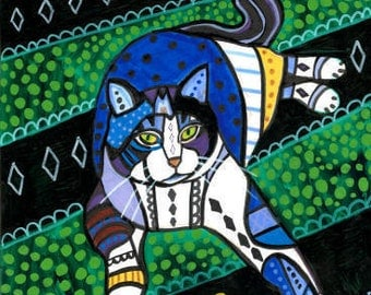 tabby Cat Folk art  Poster Print of painting by Heather Galler (HG864)