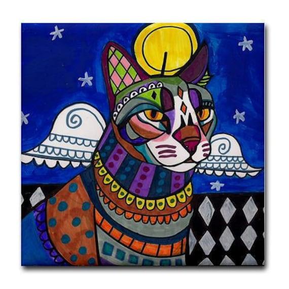 Cat GiftTABBY CAT ART  Print on Ceramic Tile  Tabby Angel   Folk Art Colorful Unique Gift  Harlequin