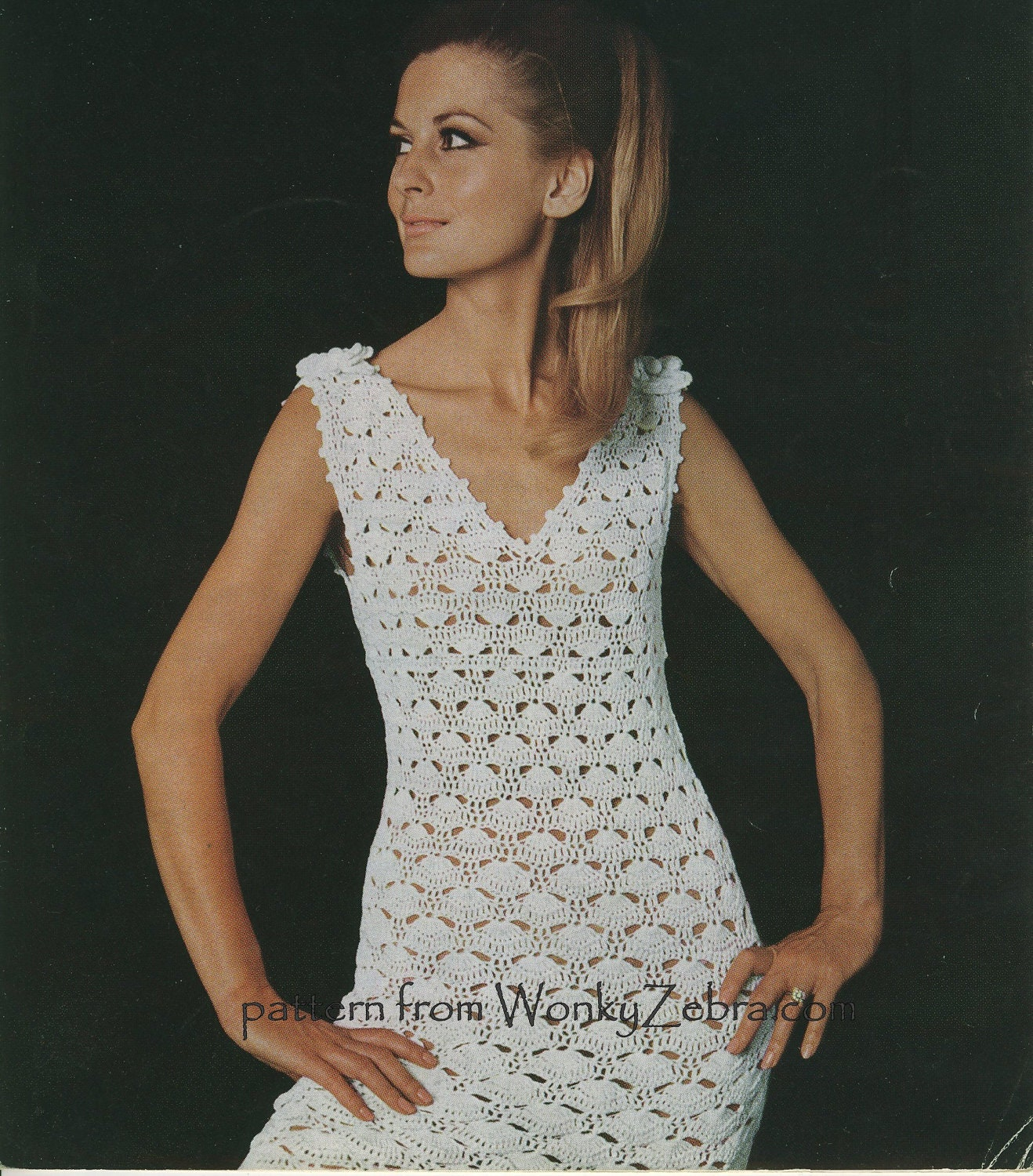 Vintage Crochet : Vintage Crochet Dress and Corsage Pattern PDF 441 by wonkyzebra