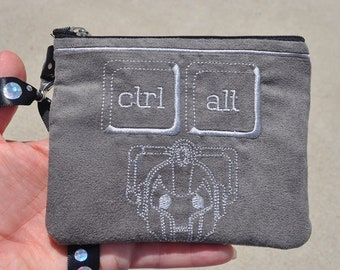 Doctor Who Wallet Wrislet with Embroidered TARDIS, and Cyberman Style Four