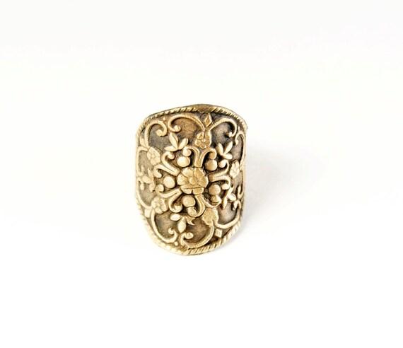 Bronze Filigree Shield Ring