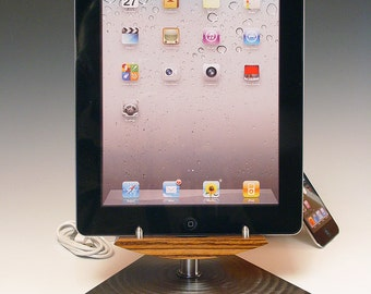 iPad stand with USB 110 volt wall charger. Contemporary. Sophisticated. Exotic Zebra wood and steel. FAST SHIPPING. 277