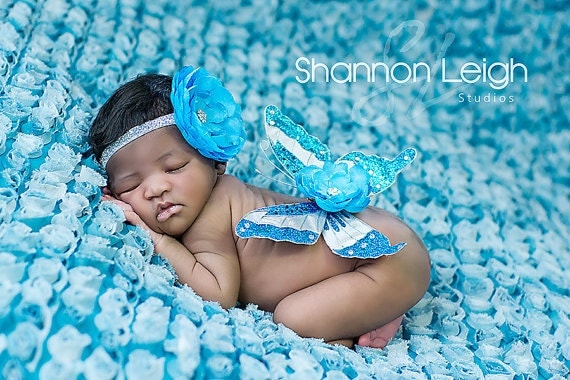 READY to SHIP. Newborn Photo Prop: Turquoise and Silver Butterfly Wing and Headband Set. Size Newborn.