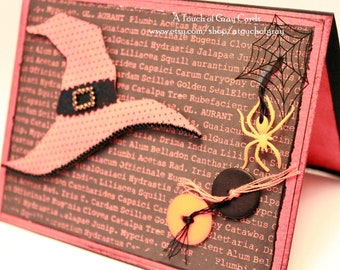Halloween Card - Witch's Recipe Book - Handmade Witch Hat Halloween Greeting Card