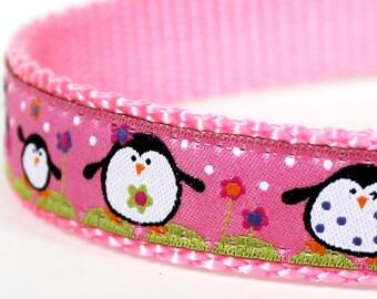Happy Penguins Dog Collar on Pink / Adjustable Dog Collar / Pink