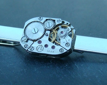 Tie Bar with russian Made Watch Movements ideal gift for a steampunk lover