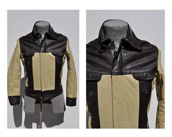 vintage leather jacket CAFE RACER leather jacket 1960s mens size 38 apparel annex two tone tutone